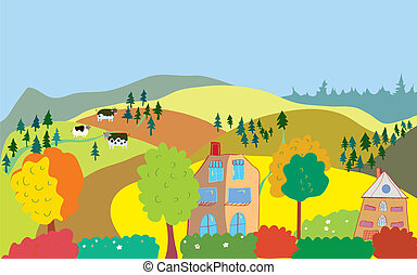 Autumn countryside landscape with trees, houses, cows and hills