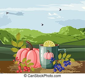 Autumn cozy composition with cup of hot chocolate