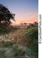 Autumn dawn landscape over frosty misty fields