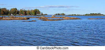 Autumn day at Lake Vanern. Landscape in Vita Sannar, Sweden.