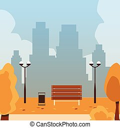 Autumn day in city park with golden foliage background, flat cartoon vector illustration. Fall season landscape scenery with bench and lanterns on cityscape backdrop.