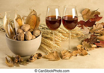 Autumn decor with wine - Red wine in an autumn decor with...
