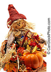 Autumn Decorations - Halloween decorations with scarecrow...