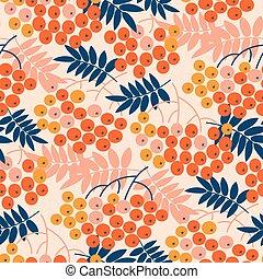 Autumn decorative rowanberry seamless pattern. Simple fall...