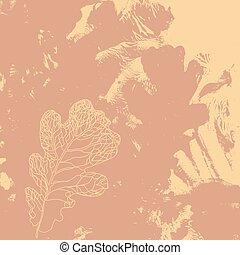 Autumn defoliation in the nature. Foliage of oak leaf