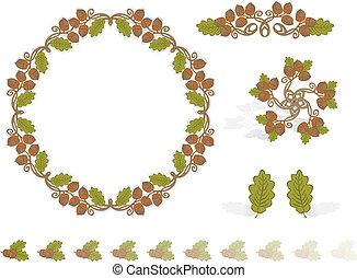 Autumn Design Elements Acorns - Vector art in Illustrator 8....