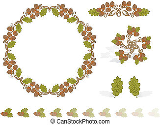 Autumn Design Elements Acorns - Vector art in Illustrator 8...