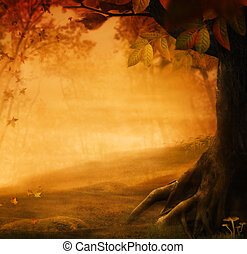 Autumn design - Forest in fall. Autumn valley with mushrooms...