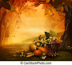 Autumn design - Season fruit the frest. Autumn valley with pumpkins, grapes, mushrooms, vor, acorns, chestnut. Falling leaves and bird house in he background. Space for your autumnal text. Fall background concept with copyspace.
