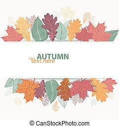 Autumn design with colorful bright leaves