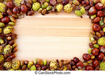 Fall detritus of beechnuts, horse chestnuts and acorns form a rectangular frame on a wooden background with copy space