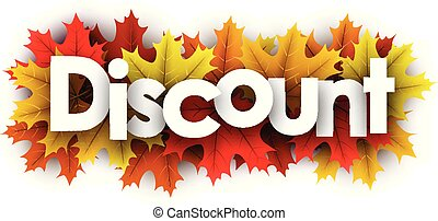 Autumn discount sign with color maple leaves.