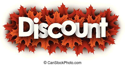 Autumn discount sign with orange maple leaves.
