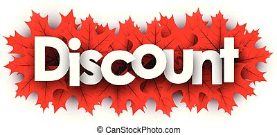 Autumn discount sign with red maple leaves.