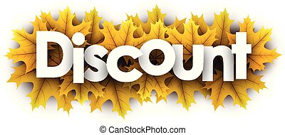 Autumn discount sign with yellow maple leaves.
