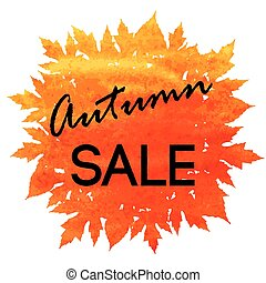 Autumn discount. Vector fall leaves.