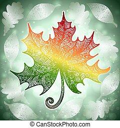 Autumn doodle leaf