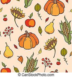 Autumn doodle seamless pattern