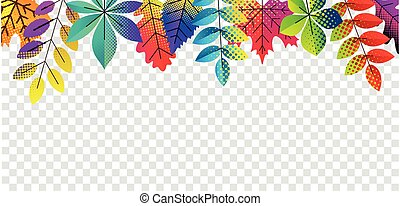 Autumn dotted leaves on transparent background.