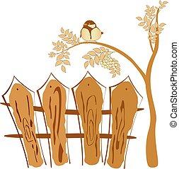 Autumn drawing, bird sitting on a tree Rowan. EPS10 vector illustration