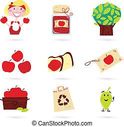 autumn:, ensemble, pomme, nature, icônes