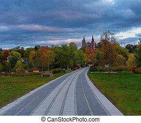 Autumn evening in a city park