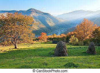 Autumn evening mountain hill