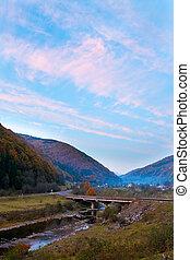 Autumn evening mountain village