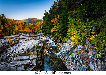 Autumn evening view of Rocky Gorge, on the Kancamagus Highway, i