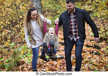 autumn., extérieur, parc, famille, heureux