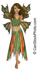 Autumn Fairy - Green and orange fairy standing up