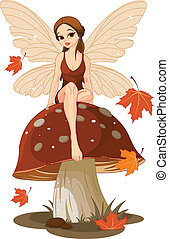 Autumn Fairy on the Mushroom - Autumn fairy sitting on...