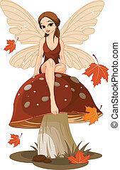 Autumn Fairy on the Mushroom - Autumn fairy sitting on...