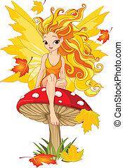 Autumn Fairy on the Mushroom - Autumn fairy elf sitting on...