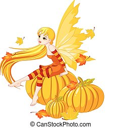 Autumn Fairy on the Pumpkin - Autumn fairy elf sitting on...