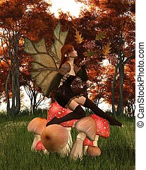 Autumn Fairy with Leafy Wings on an Autumn Woodland Toadstool