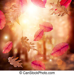 autumn., fall., φθινοπωρινός , φόντο. , φύλλα