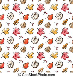 Autumn. Fall. Cute vector seamless pattern. All elements are hidden under mask. Pattern are not cropped and can be edited. Perfect for seasonal holidays, Thanksgiving Day.