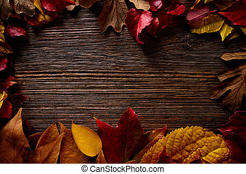 Autumn fall frame golden red leaves on wood