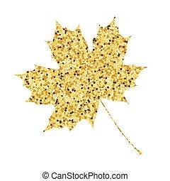 Autumn fall. Golden maple leaf back