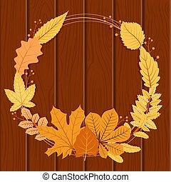 Autumn Fall Leaf Greeting Invitation Circle Frame Wood Background Bouquet