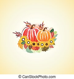 Autumn fall leafs flowers with pumpkins watercolor