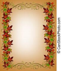 Autumn Fall Leaves Border Frame - Illustration composition...