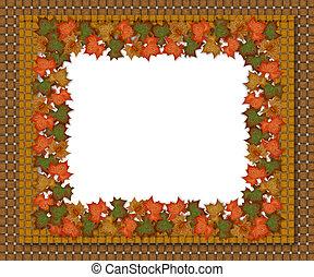 Autumn fall leaves woven border