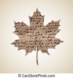 Autumn Fall maple leaf shape with hand written text background. EPS10 file with transparency for easy editing.