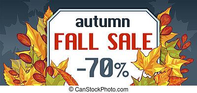 Autumn fall sale banner horizontal, cartoon style