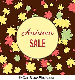 Autumn fall sale poster with maple leaves