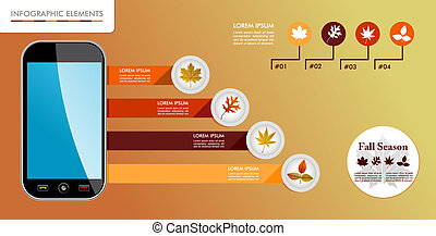 Autumn, Fall season infographic elements graphics template.