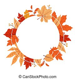 Autumn Fall Season Leaf Greeting Invitation Circle Frame Background Bouquet