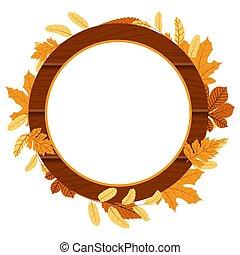 Autumn Fall Season Leaf Greeting Invitation Circle Wooden Frame Bouquet